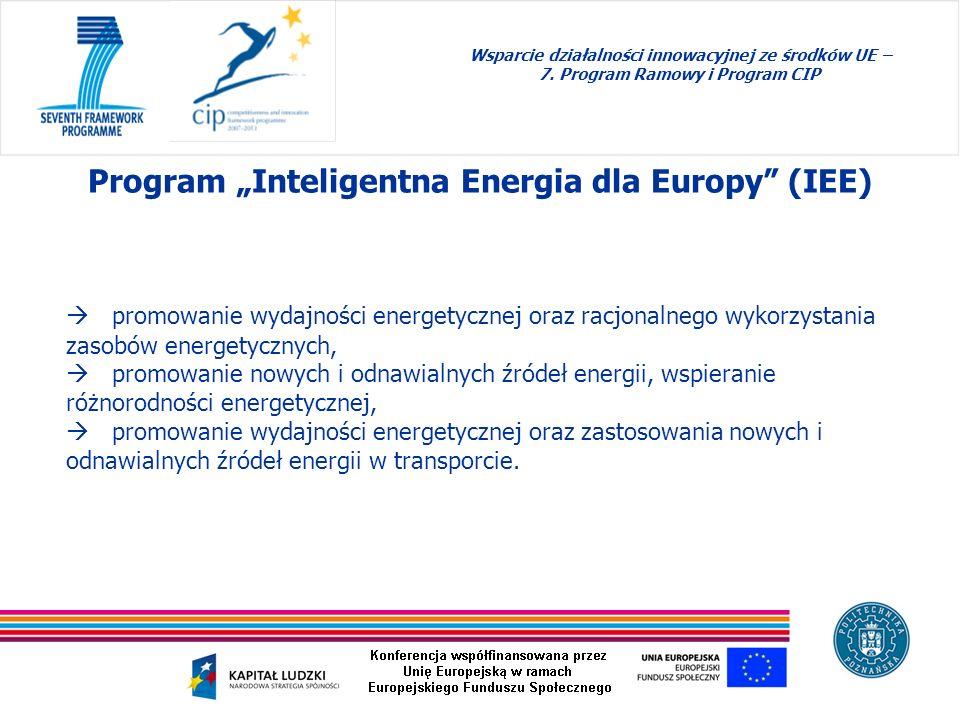 promowanie wydajności energetycznej oraz racjonalnego wykorzystania zasobów energetycznych, promowanie nowych i odnawialnych źródeł energii, wspierani