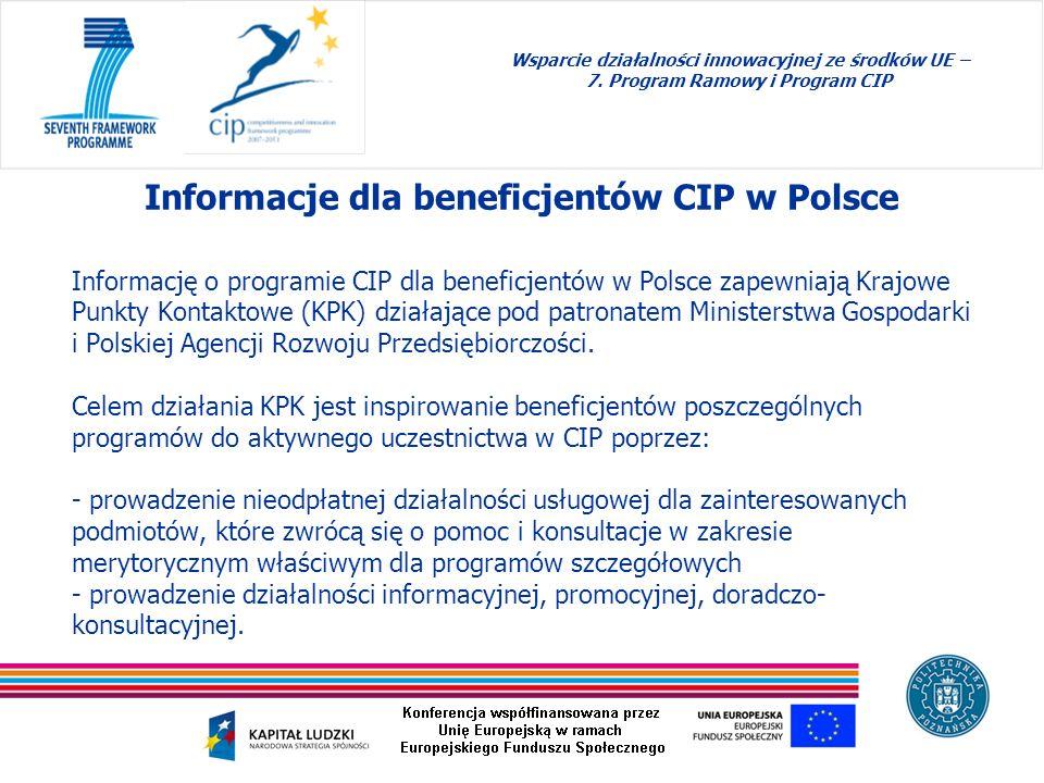 Informację o programie CIP dla beneficjentów w Polsce zapewniają Krajowe Punkty Kontaktowe (KPK) działające pod patronatem Ministerstwa Gospodarki i P