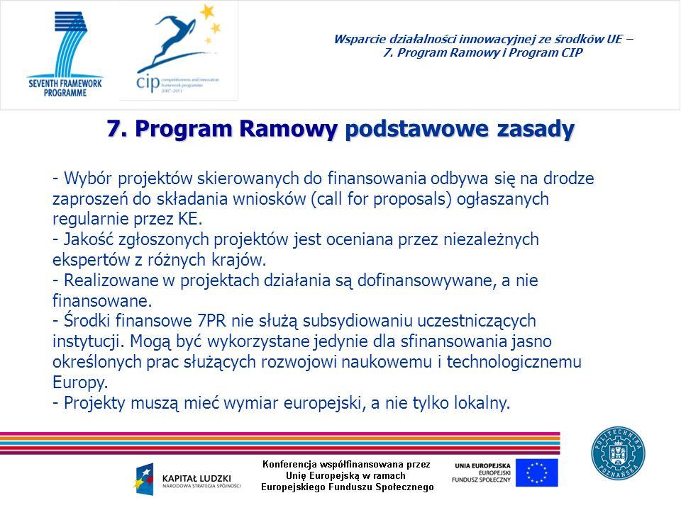 7. Program Ramowy podstawowe zasady Wsparcie działalności innowacyjnej ze środków UE – 7. Program Ramowy i Program CIP - Wybór projektów skierowanych
