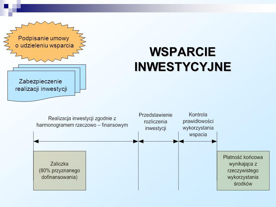 Zabezpieczenie realizacji inwestycji WSPARCIE INWESTYCYJNE Podpisanie umowy o udzieleniu wsparcia