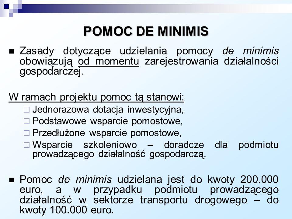 POMOC DE MINIMIS Zasady dotyczące udzielania pomocy de minimis obowiązują od momentu zarejestrowania działalności gospodarczej.