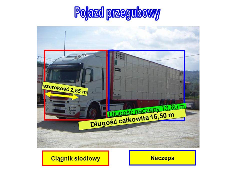 Ciągnik siodłowy Naczepa Długość całkowita 16,50 m Długość naczepy 13,60 m szerokość 2,55 m