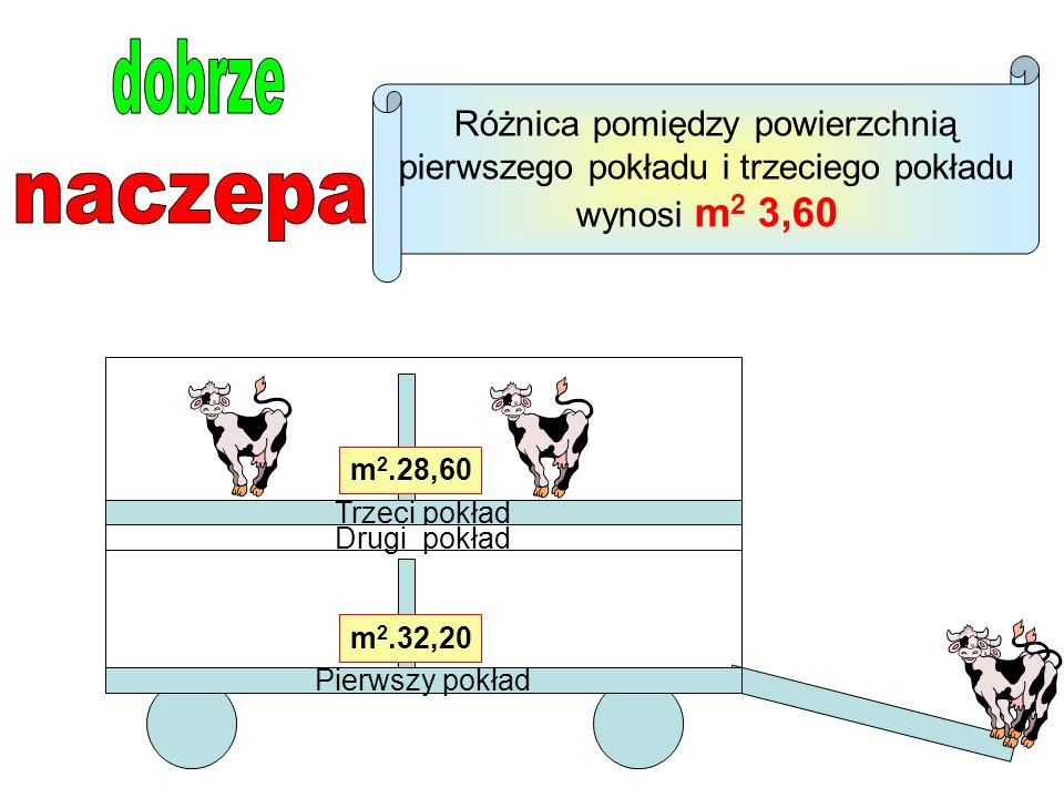 Pierwszy pokład Trzeci pokład Drugi pokład m 2.32,20 m 2.28,60 Różnica pomiędzy powierzchnią pierwszego pokładu i trzeciego pokładu wynosi m 2 3,60