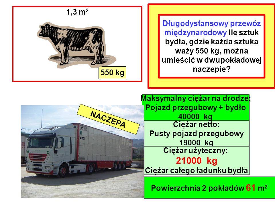 550 kg Maksymalny ciężar na drodze: Pojazd przegubowy + bydło 40000 kg Powierzchnia 2 pokładów 61 m 2 1,3 m 2 NACZEPA Ciężar netto: Pusty pojazd przegubowy 19000 kg Ciężar użyteczny: 21000 kg Ciężar całego ładunku bydła Długodystansowy przewóz międzynarodowy Ile sztuk bydła, gdzie każda sztuka waży 550 kg, można umieścić w dwupokładowej naczepie?