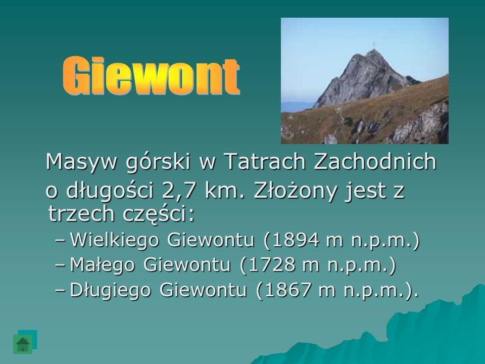 Masyw górski w Tatrach Zachodnich Masyw górski w Tatrach Zachodnich o długości 2,7 km. Złożony jest z trzech części: o długości 2,7 km. Złożony jest z