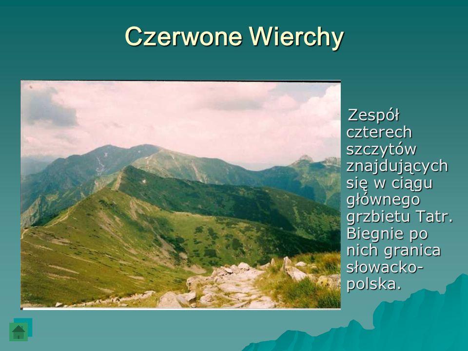 Czerwone Wierchy Zespół czterech szczytów znajdujących się w ciągu głównego grzbietu Tatr. Biegnie po nich granica słowacko- polska. Zespół czterech s