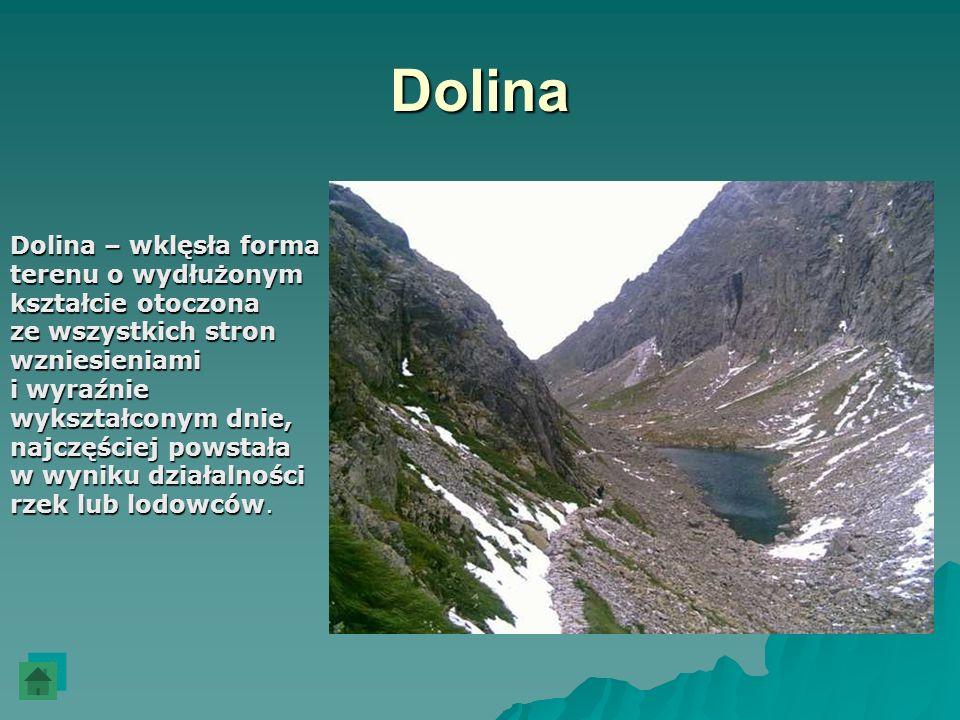 Dolina Dolina – wklęsła forma terenu o wydłużonym kształcie otoczona ze wszystkich stron wzniesieniami i wyraźnie wykształconym dnie, najczęściej pows