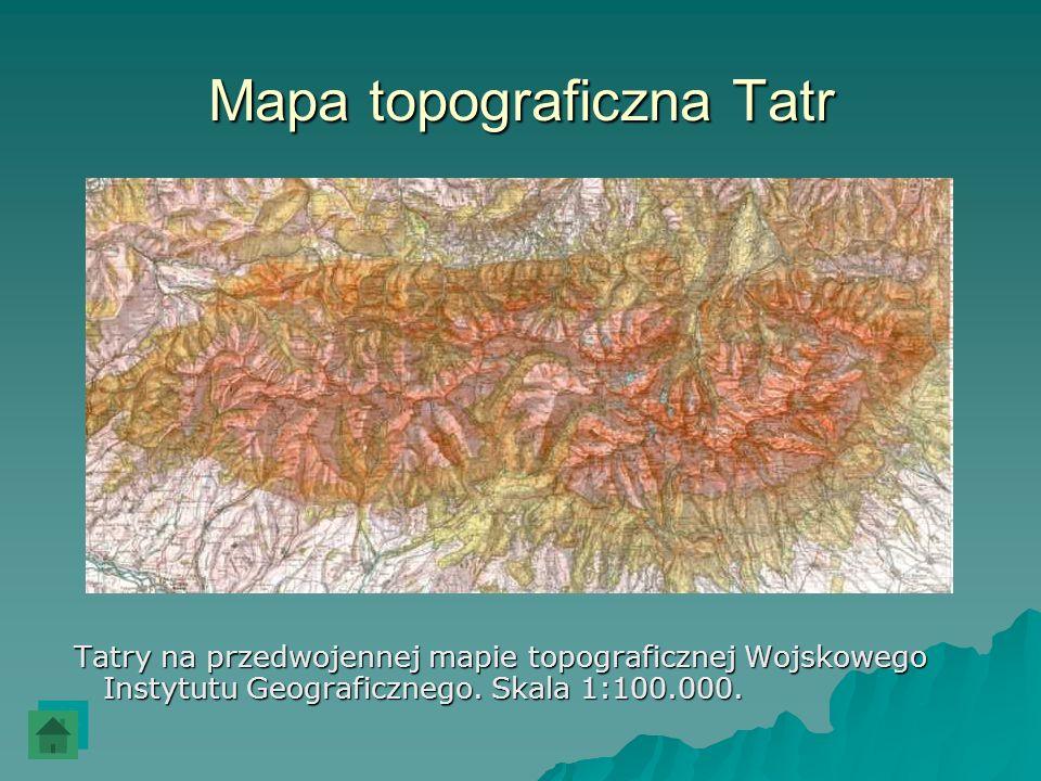 Mapa topograficzna Tatr Tatry na przedwojennej mapie topograficznej Wojskowego Instytutu Geograficznego. Skala 1:100.000. Tatry na przedwojennej mapie