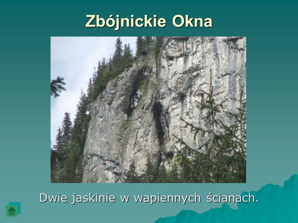 Zbójnickie Okna Dwie jaskinie w wapiennych ścianach.
