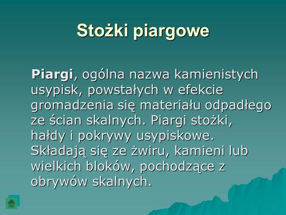 Stożki piargowe Piargi, ogólna nazwa kamienistych usypisk, powstałych w efekcie gromadzenia się materiału odpadłego ze ścian skalnych. Piargi stożki,