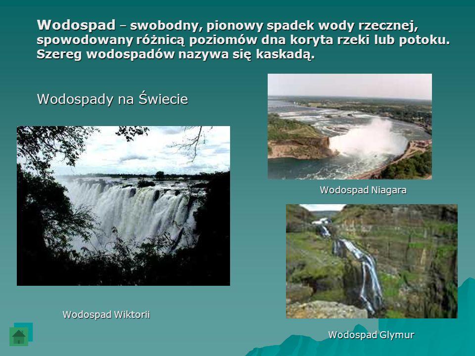 Wodospad – swobodny, pionowy spadek wody rzecznej, spowodowany różnicą poziomów dna koryta rzeki lub potoku. Szereg wodospadów nazywa się kaskadą. Wod