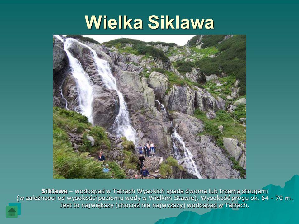 Wielka Siklawa Siklawa – wodospad w Tatrach Wysokich spada dwoma lub trzema strugami (w zależności od wysokości poziomu wody w Wielkim Stawie). Wysoko