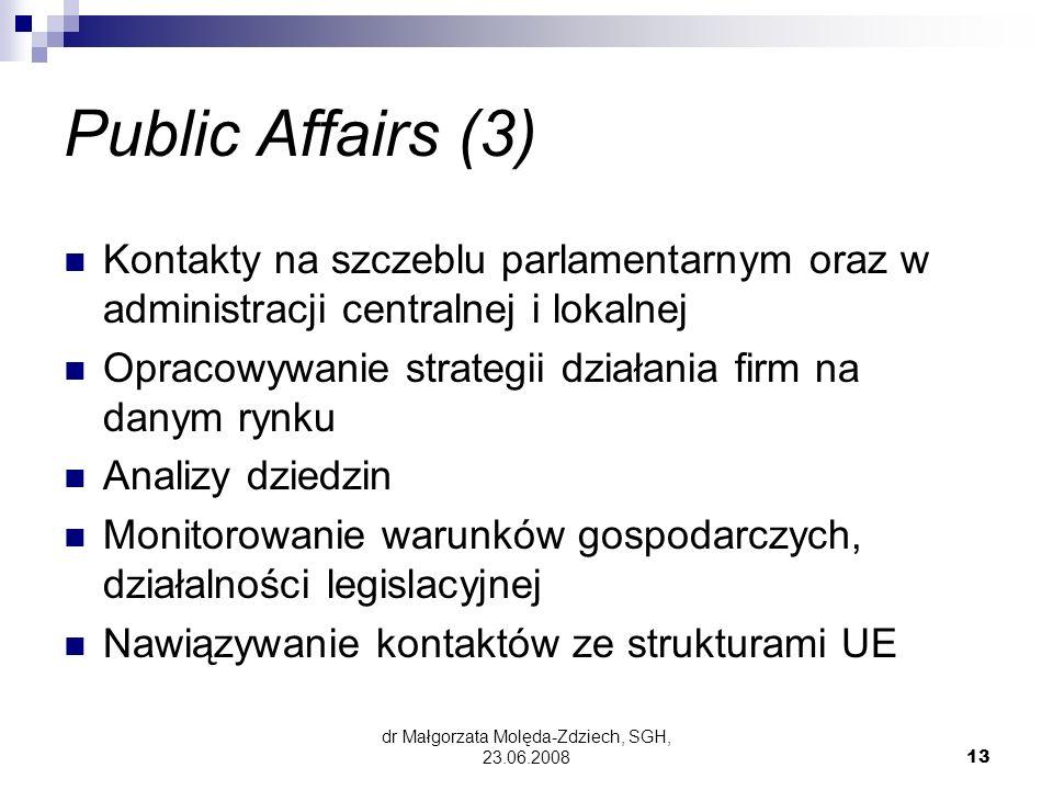 dr Małgorzata Molęda-Zdziech, SGH, 23.06.200813 Public Affairs (3) Kontakty na szczeblu parlamentarnym oraz w administracji centralnej i lokalnej Opracowywanie strategii działania firm na danym rynku Analizy dziedzin Monitorowanie warunków gospodarczych, działalności legislacyjnej Nawiązywanie kontaktów ze strukturami UE
