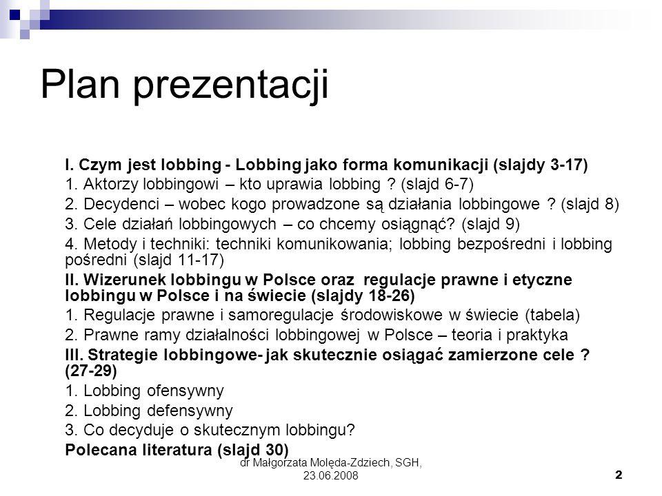 dr Małgorzata Molęda-Zdziech, SGH, 23.06.200823 Zasady jawności działalności lobbingowej procesie stanowienia prawa (6) Projekty ustaw: Rada Ministrów – program prac legislacyjnych dotyczący projektów ustaw – co 6 miesięcy RM przekazuje program niezwłocznie do Sejmu RP Sejm RP może zorganizować wysłuchanie publiczne w sprawie projektu ustawy może wziąć w nim udział m.in.