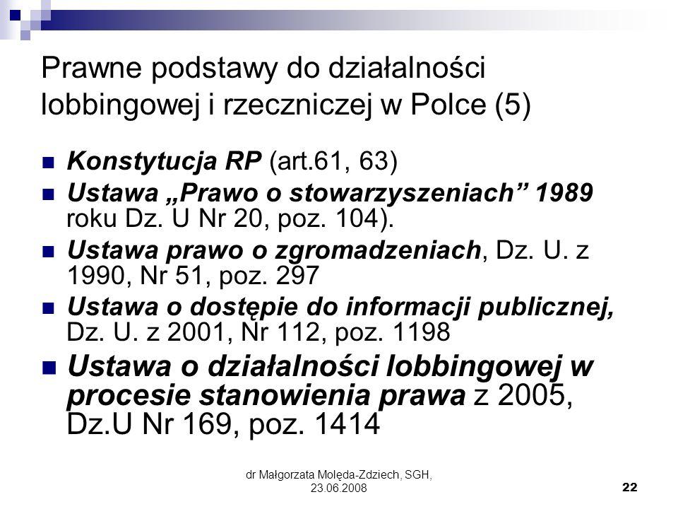 dr Małgorzata Molęda-Zdziech, SGH, 23.06.200822 Prawne podstawy do działalności lobbingowej i rzeczniczej w Polce (5) Konstytucja RP (art.61, 63) Ustawa Prawo o stowarzyszeniach 1989 roku Dz.