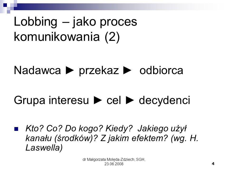 dr Małgorzata Molęda-Zdziech, SGH, 23.06.20085 DEFINICJE (3) Polska: Działalność lobbingowa każde działanie prowadzone metodami prawnie dozwolonymi zmierzające do wywarcia wpływu na organy władzy publicznej w procesie stanowienia prawa.