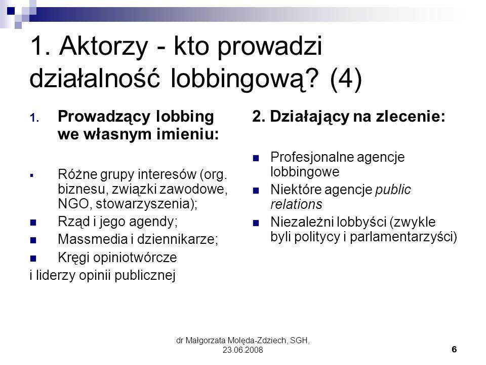 dr Małgorzata Molęda-Zdziech, SGH, 23.06.20087 Zawodowi lobbyści w Polsce, USA i w UE (5) Polska – od 2003, Stowarzyszenie Profesjonalnych Lobbystów w Polsce (www.splp.pl)- 6 firm CEC Government Relations, Unilob, EPPA, EPC, Profile Public Affairs, Impress Art PR&Lobyingwww.splp.pl)- USA –32890 lobbystów (w 2005 r), od 1979, American League of Lobbyists (www.alldc.org) Forum UE – w Brukseli ok.