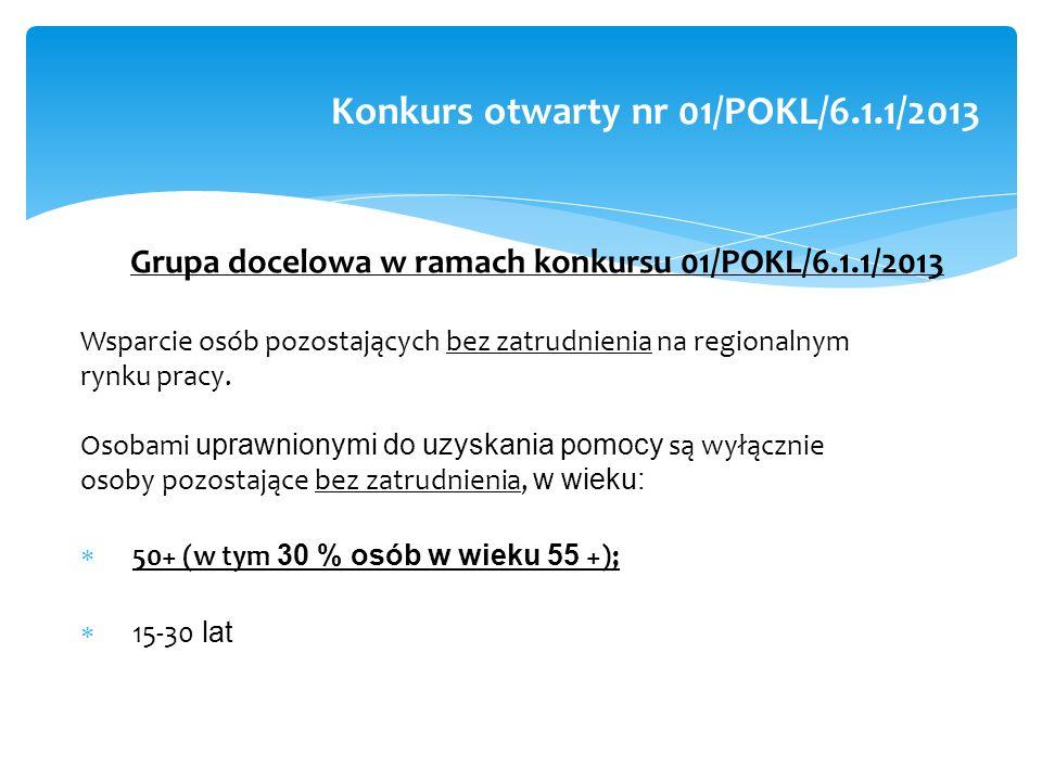 Grupa docelowa w ramach konkursu 01/POKL/6.1.1/2013 Wsparcie osób pozostających bez zatrudnienia na regionalnym rynku pracy.