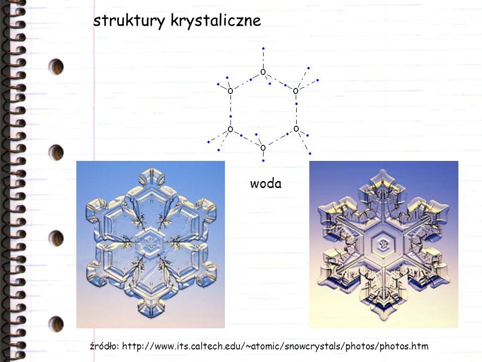 struktury krystaliczne woda źródło: http://www.its.caltech.edu/~atomic/snowcrystals/photos/photos.htm