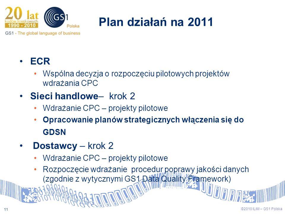 ©2009 ILiM – GS1 Polska 11 ©2010 ILiM – GS1 Polska 11 Plan działań na 2011 ECR Wspólna decyzja o rozpoczęciu pilotowych projektów wdrażania CPC Sieci