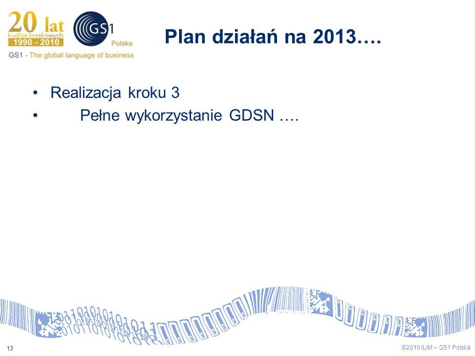 ©2009 ILiM – GS1 Polska 13 ©2010 ILiM – GS1 Polska 13 Plan działań na 2013…. Realizacja kroku 3 Pełne wykorzystanie GDSN ….