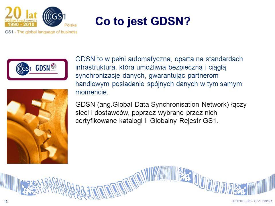 ©2009 ILiM – GS1 Polska 16 ©2010 ILiM – GS1 Polska 16 Co to jest GDSN? GDSN to w pełni automatyczna, oparta na standardach infrastruktura, która umożl