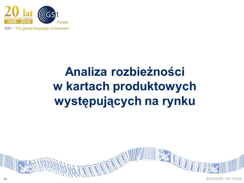 ©2009 ILiM – GS1 Polska 19 ©2010 ILiM – GS1 Polska 19 Analiza rozbieżności w kartach produktowych występujących na rynku