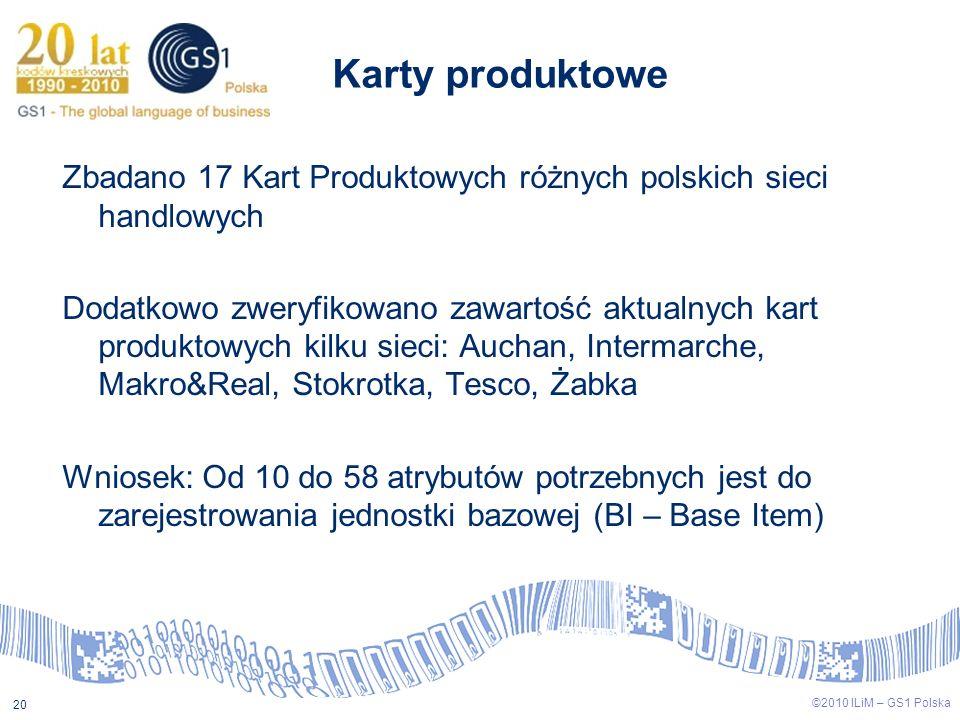 ©2009 ILiM – GS1 Polska 20 ©2010 ILiM – GS1 Polska 20 Zbadano 17 Kart Produktowych różnych polskich sieci handlowych Dodatkowo zweryfikowano zawartość