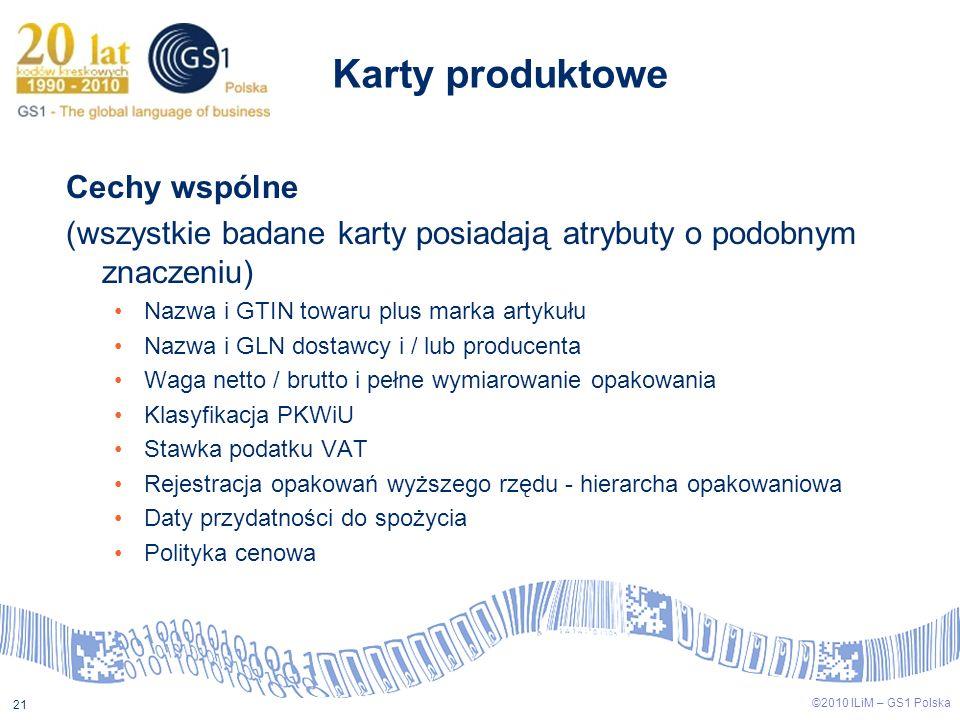 ©2009 ILiM – GS1 Polska 21 ©2010 ILiM – GS1 Polska 21 Cechy wspólne (wszystkie badane karty posiadają atrybuty o podobnym znaczeniu) Nazwa i GTIN towa
