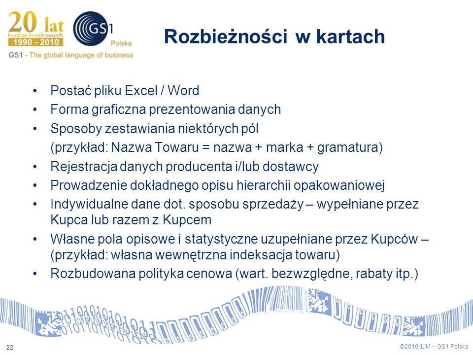 ©2009 ILiM – GS1 Polska 22 ©2010 ILiM – GS1 Polska 22 Postać pliku Excel / Word Forma graficzna prezentowania danych Sposoby zestawiania niektórych pó