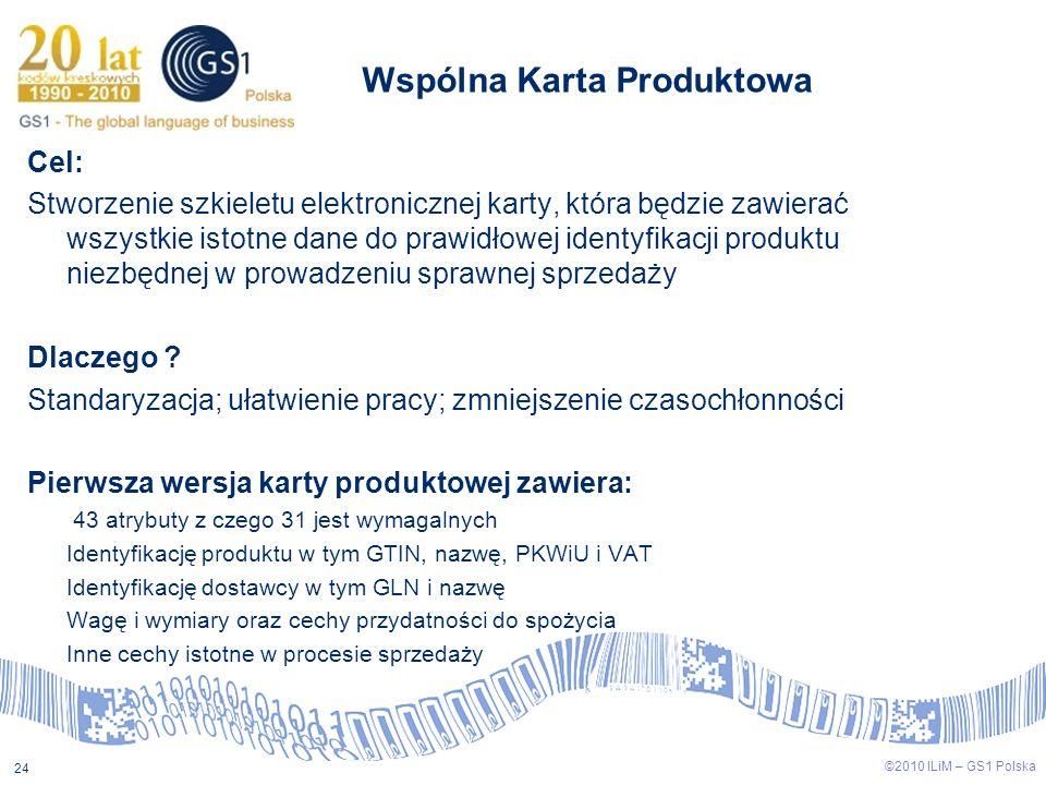 ©2009 ILiM – GS1 Polska 24 ©2010 ILiM – GS1 Polska 24 Wspólna Karta Produktowa Cel: Stworzenie szkieletu elektronicznej karty, która będzie zawierać w