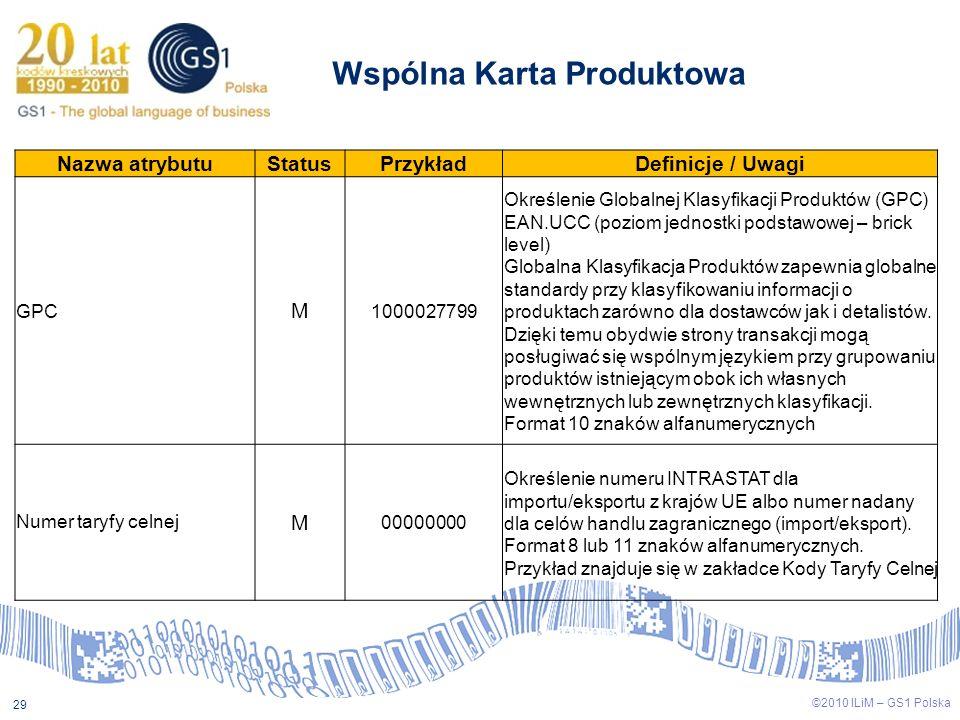 ©2009 ILiM – GS1 Polska 29 ©2010 ILiM – GS1 Polska 29 Wspólna Karta Produktowa Nazwa atrybutuStatusPrzykładDefinicje / Uwagi GPC M 1000027799 Określen