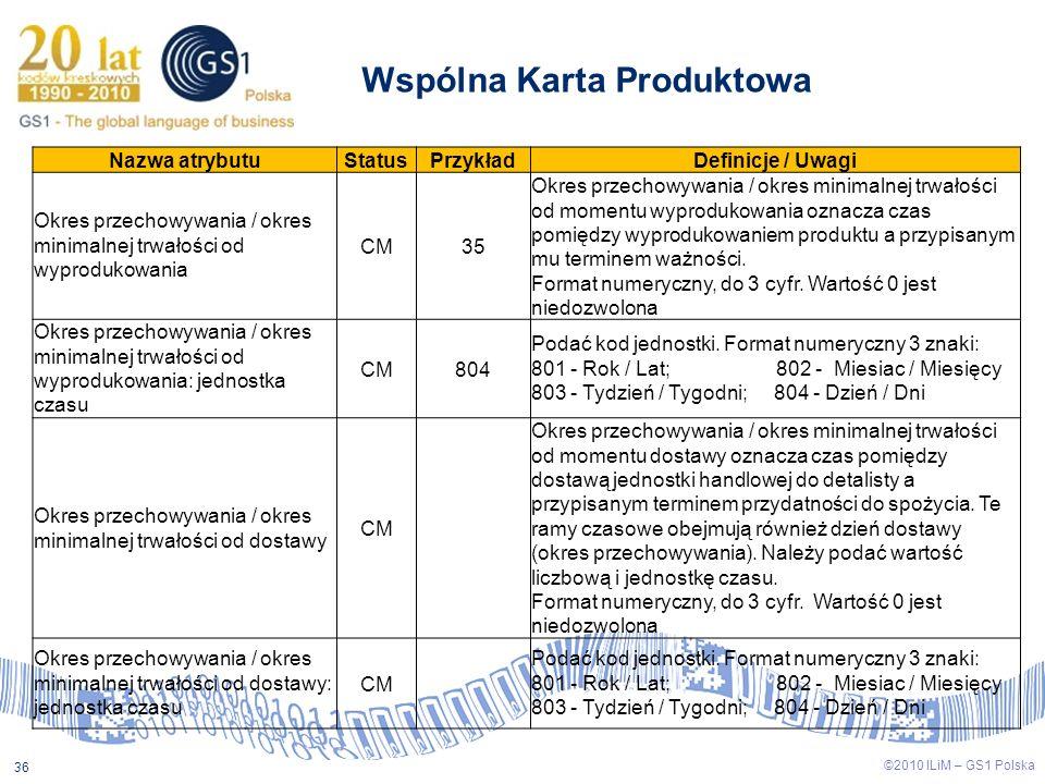 ©2009 ILiM – GS1 Polska 36 ©2010 ILiM – GS1 Polska 36 Wspólna Karta Produktowa Nazwa atrybutuStatusPrzykładDefinicje / Uwagi Okres przechowywania / ok
