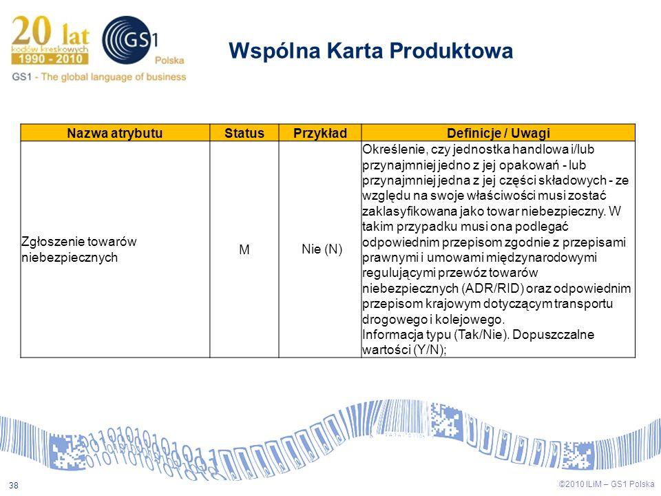 ©2009 ILiM – GS1 Polska 38 ©2010 ILiM – GS1 Polska 38 Wspólna Karta Produktowa Nazwa atrybutuStatusPrzykładDefinicje / Uwagi Zgłoszenie towarów niebez