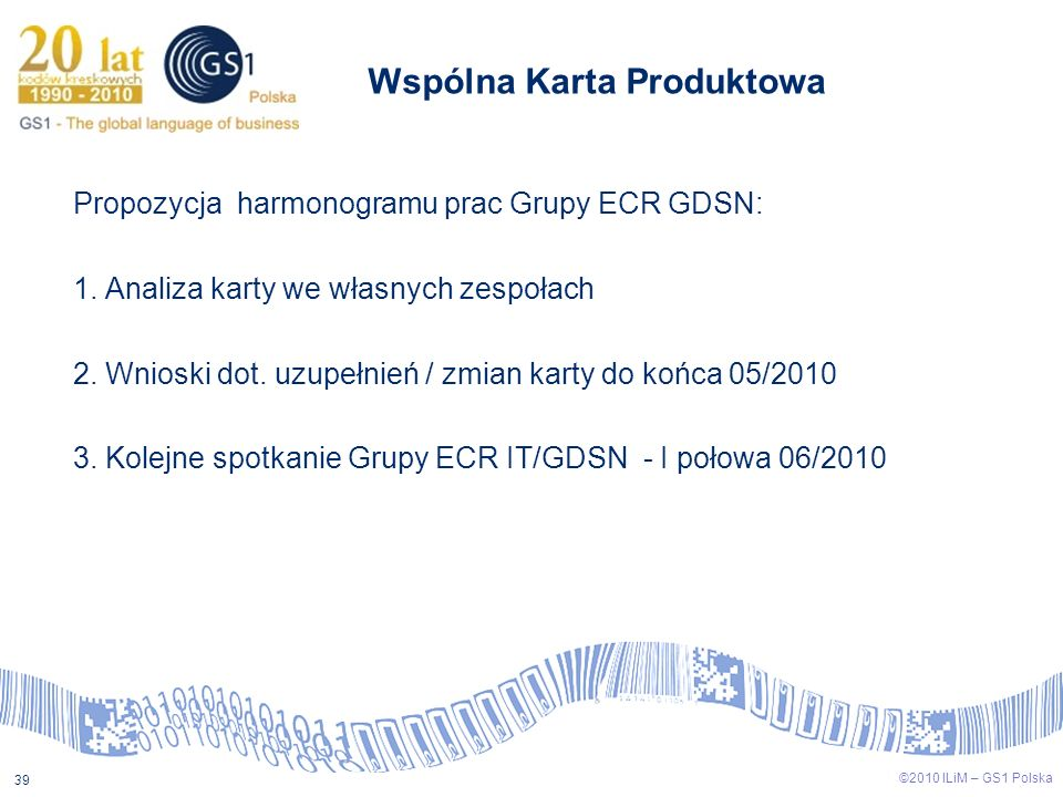 ©2009 ILiM – GS1 Polska 39 ©2010 ILiM – GS1 Polska 39 Wspólna Karta Produktowa Propozycja harmonogramu prac Grupy ECR GDSN: 1. Analiza karty we własny