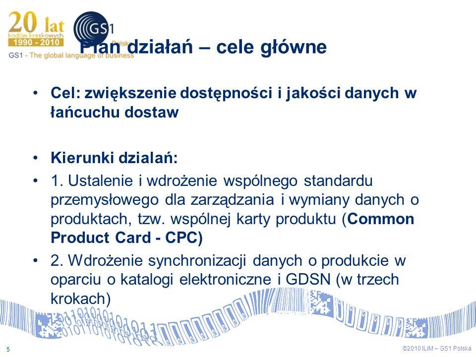 ©2009 ILiM – GS1 Polska 5 ©2010 ILiM – GS1 Polska 5 Plan działań – cele główne Cel: zwiększenie dostępności i jakości danych w łańcuchu dostaw Kierunk