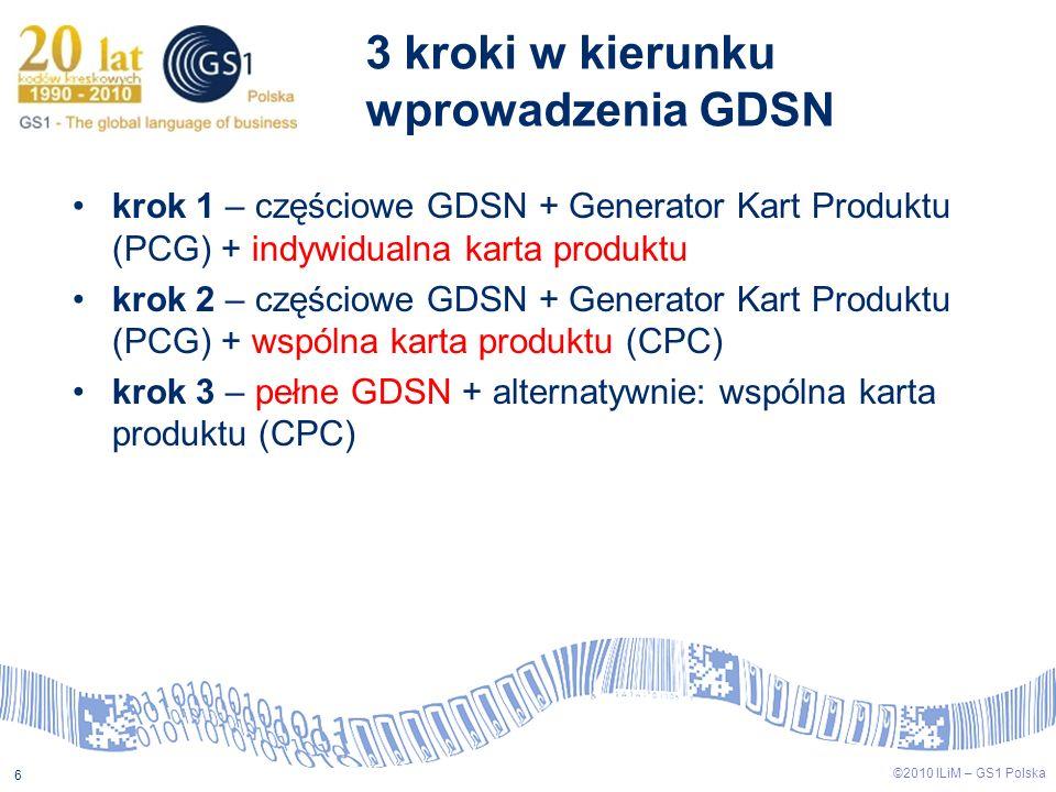 ©2009 ILiM – GS1 Polska 6 ©2010 ILiM – GS1 Polska 6 3 kroki w kierunku wprowadzenia GDSN krok 1 – częściowe GDSN + Generator Kart Produktu (PCG) + ind