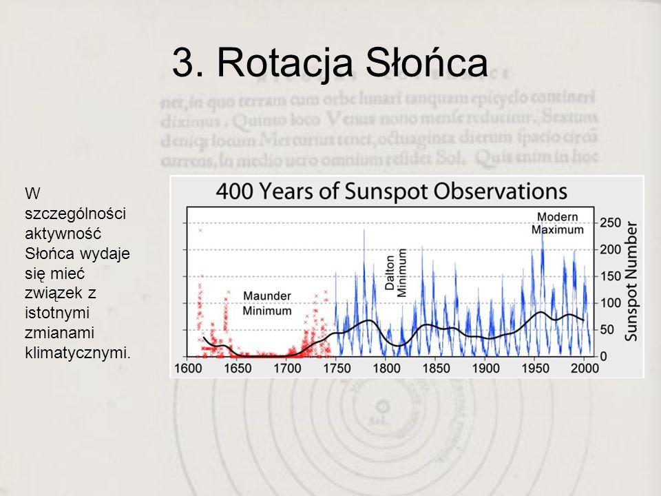 3. Rotacja Słońca W szczególności aktywność Słońca wydaje się mieć związek z istotnymi zmianami klimatycznymi.