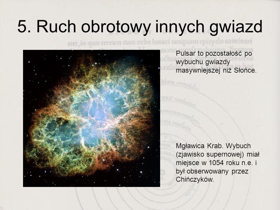 5. Ruch obrotowy innych gwiazd Pulsar to pozostałość po wybuchu gwiazdy masywniejszej niż Słońce. Mgławica Krab. Wybuch (zjawisko supernowej) miał mie
