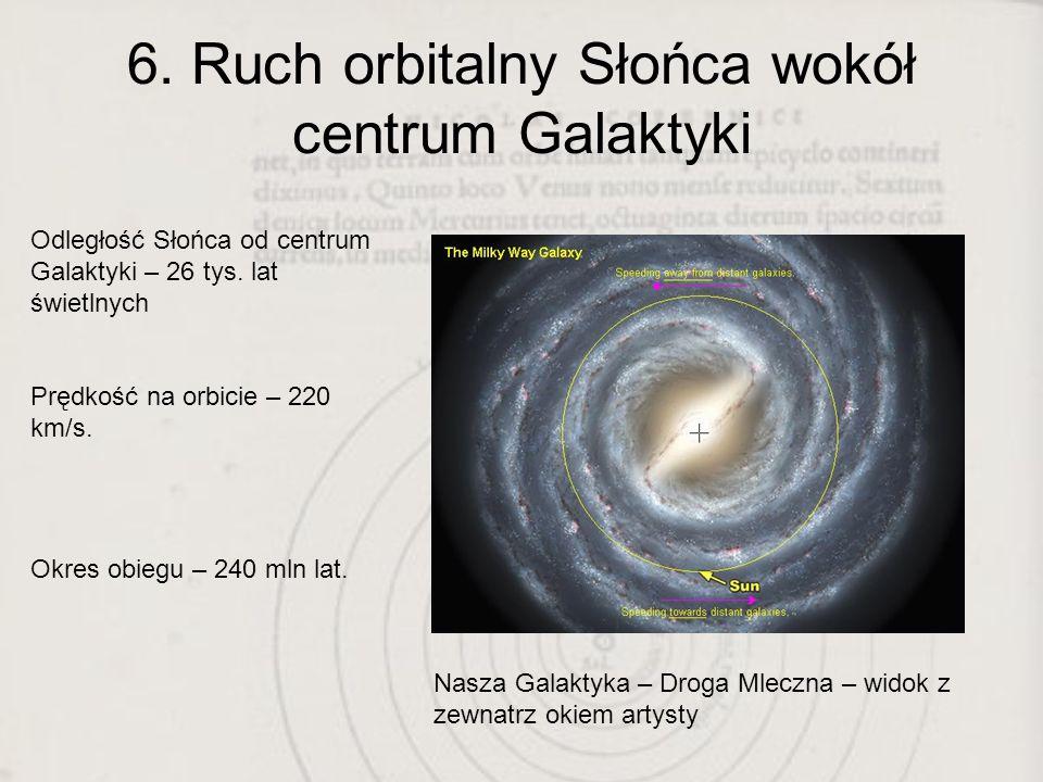 6. Ruch orbitalny Słońca wokół centrum Galaktyki Nasza Galaktyka – Droga Mleczna – widok z zewnatrz okiem artysty Odległość Słońca od centrum Galaktyk