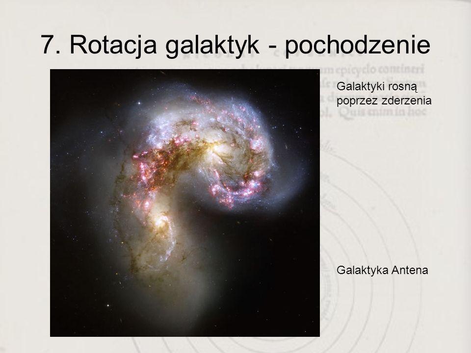 7. Rotacja galaktyk - pochodzenie Galaktyki rosną poprzez zderzenia Galaktyka Antena