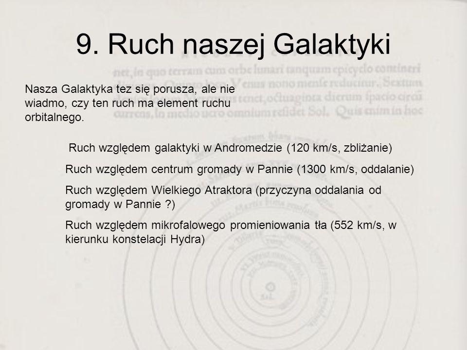 9. Ruch naszej Galaktyki Nasza Galaktyka tez się porusza, ale nie wiadmo, czy ten ruch ma element ruchu orbitalnego. Ruch względem galaktyki w Androme