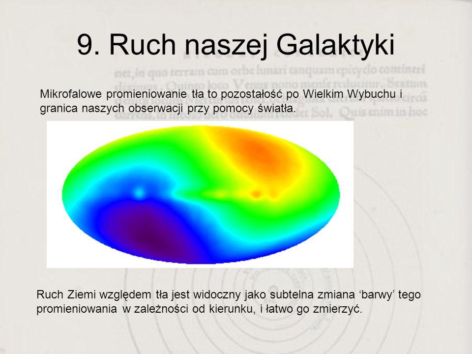 9. Ruch naszej Galaktyki Mikrofalowe promieniowanie tła to pozostałość po Wielkim Wybuchu i granica naszych obserwacji przy pomocy światła. Ruch Ziemi