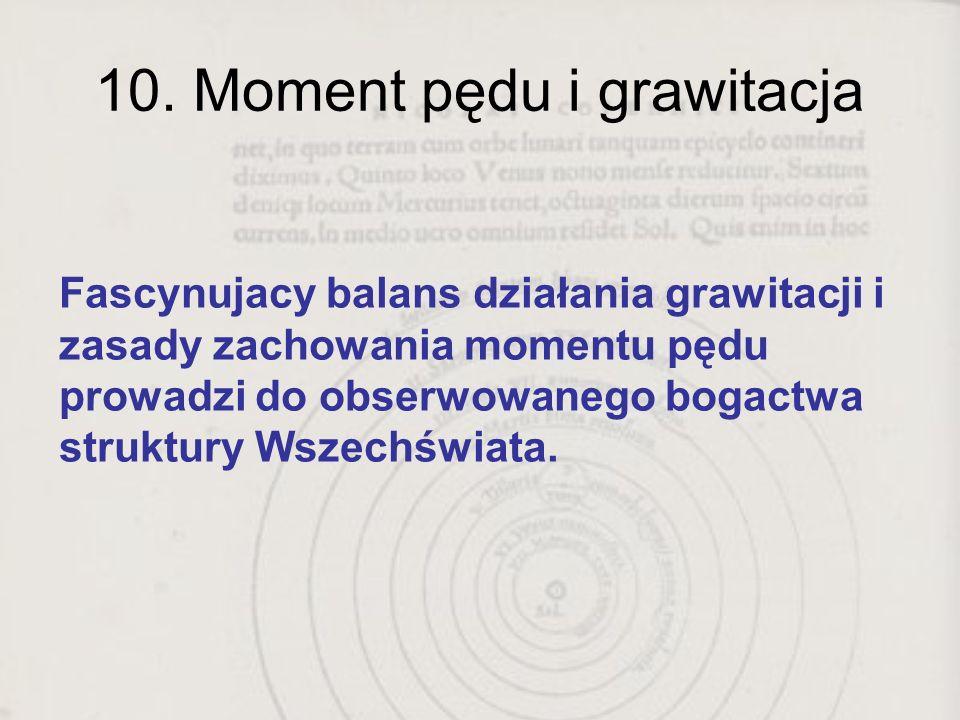 10. Moment pędu i grawitacja Fascynujacy balans działania grawitacji i zasady zachowania momentu pędu prowadzi do obserwowanego bogactwa struktury Wsz