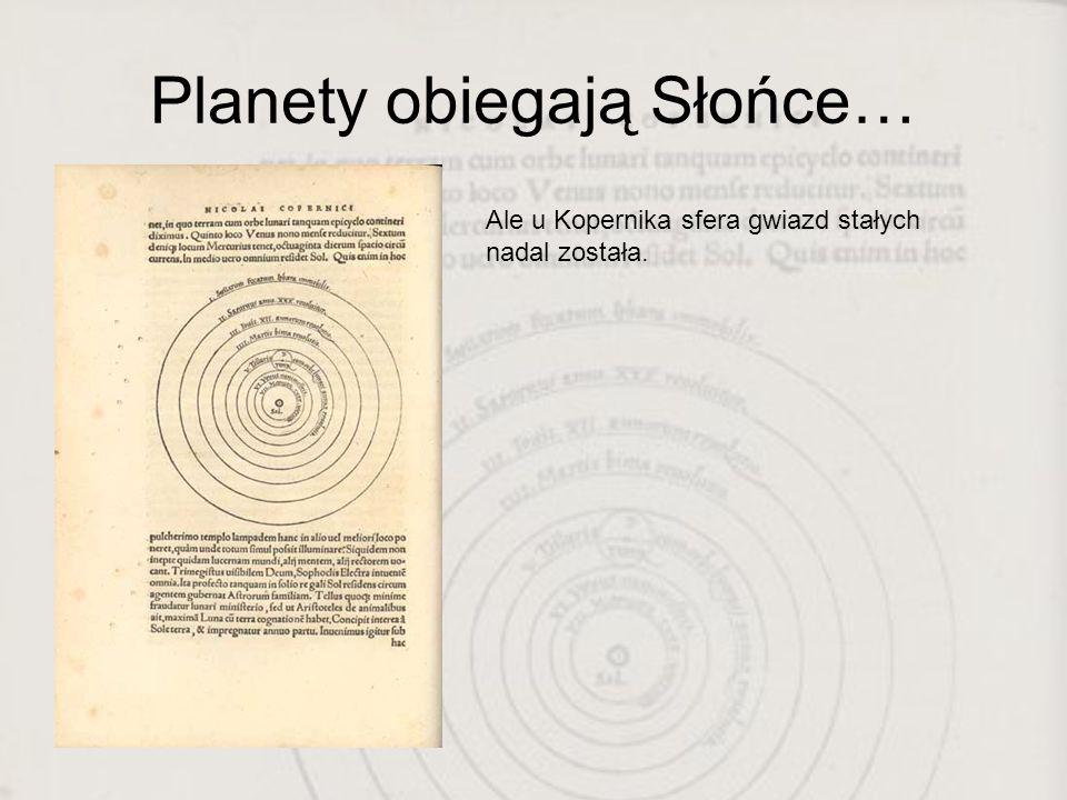 Planety obiegają Słońce… Ale u Kopernika sfera gwiazd stałych nadal została.