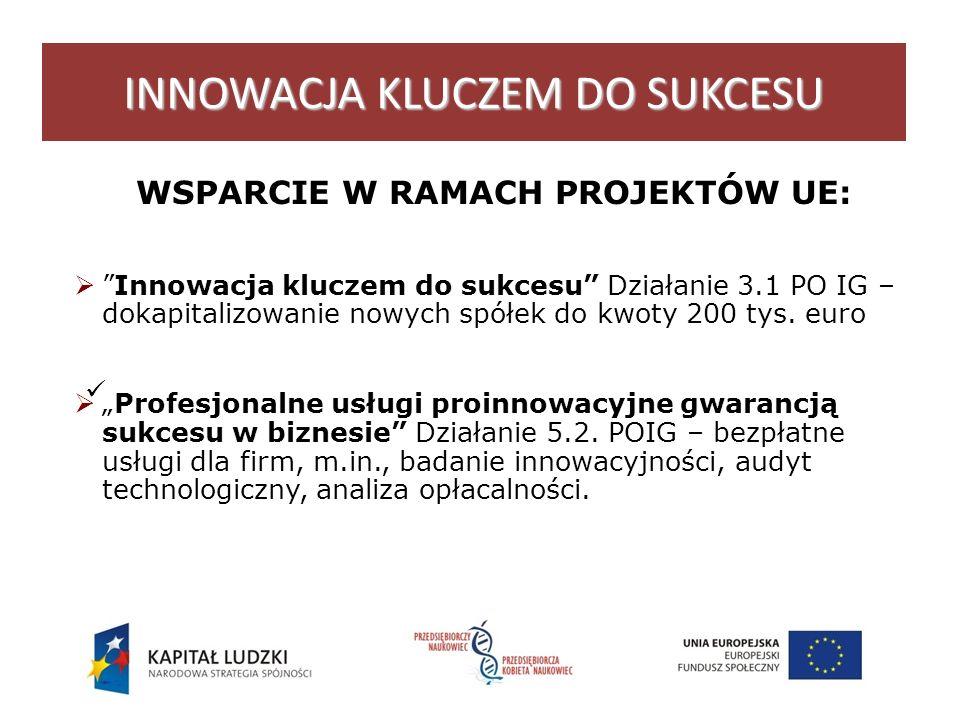 INNOWACJA KLUCZEM DO SUKCESU WSPARCIE W RAMACH PROJEKTÓW UE: Innowacja kluczem do sukcesu Działanie 3.1 PO IG – dokapitalizowanie nowych spółek do kwoty 200 tys.