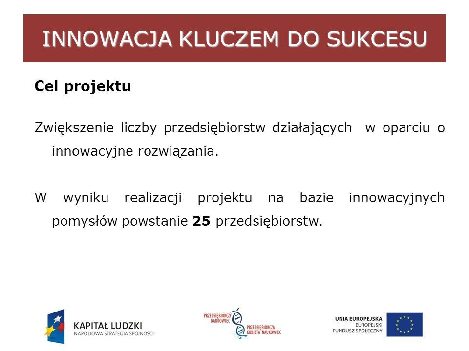 INNOWACJA KLUCZEM DO SUKCESU Cel projektu Zwiększenie liczby przedsiębiorstw działających w oparciu o innowacyjne rozwiązania.