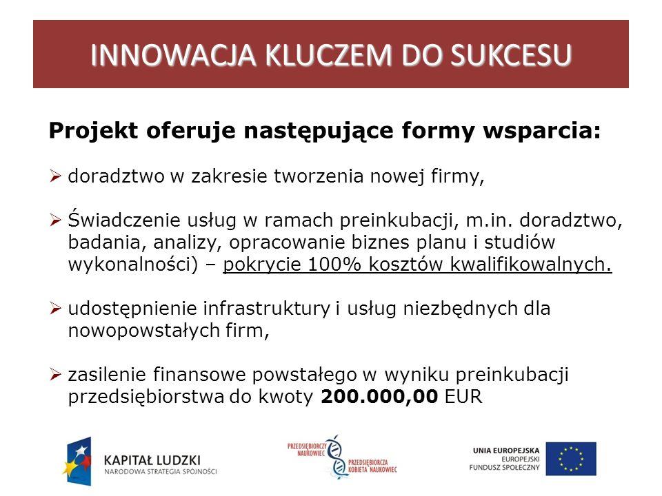 INNOWACJA KLUCZEM DO SUKCESU Projekt oferuje następujące formy wsparcia: doradztwo w zakresie tworzenia nowej firmy, Świadczenie usług w ramach preinkubacji, m.in.