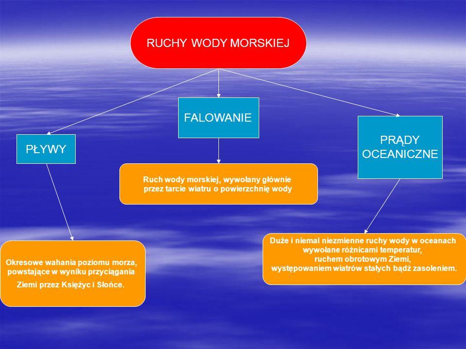 PŁYWY FALOWANIE PRĄDY OCEANICZNE RUCHY WODY MORSKIEJ Okresowe wahania poziomu morza, powstające w wyniku przyciągania Ziemi przez Księżyc i Słońce. Ru