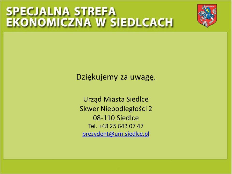 Dziękujemy za uwagę. Urząd Miasta Siedlce Skwer Niepodległości 2 08-110 Siedlce Tel. +48 25 643 07 47 prezydent@um.siedlce.pl